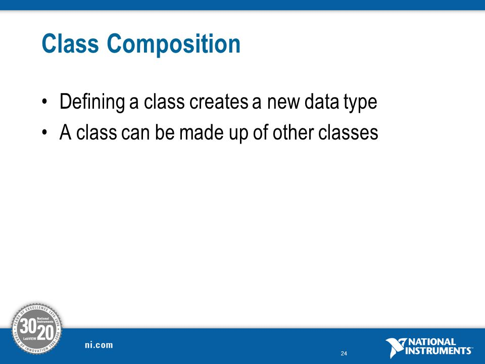 Class Composition Defining a class creates a new data type