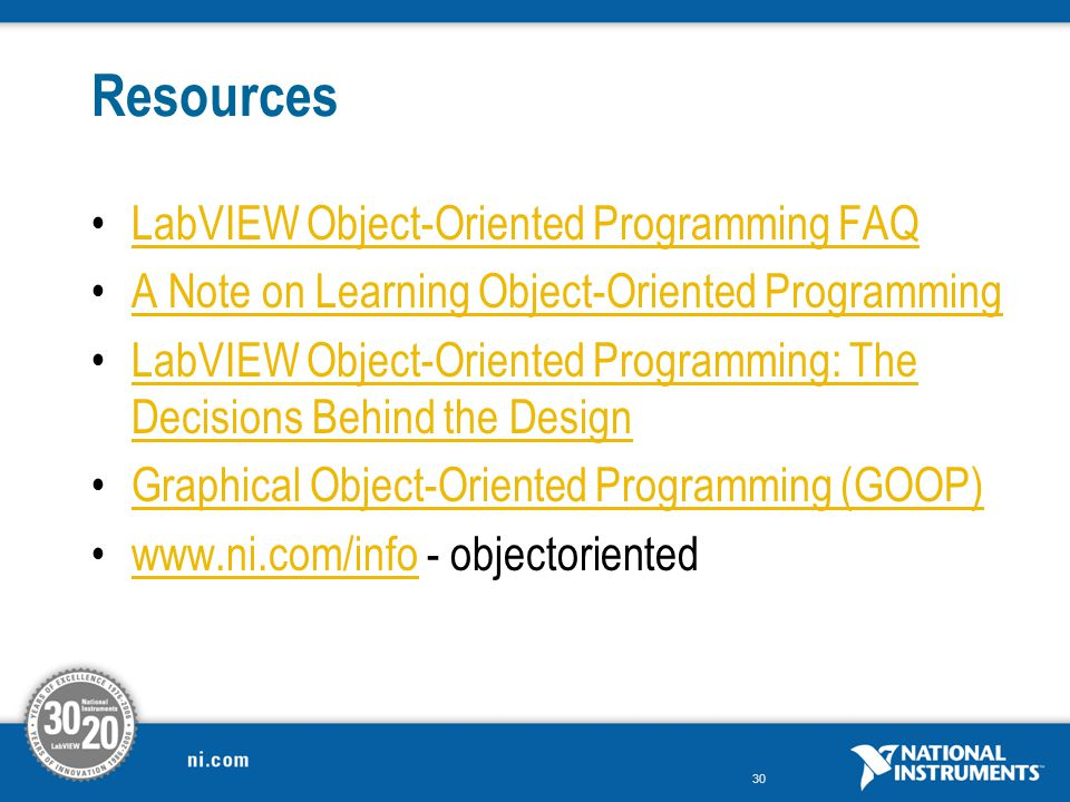 Resources LabVIEW Object-Oriented Programming FAQ