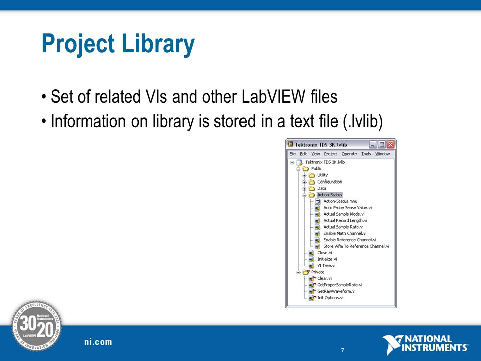Project Library Set of related VIs and other LabVIEW files