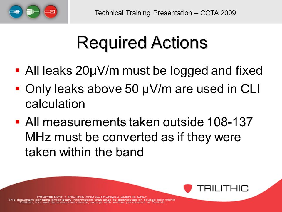 Required Actions All leaks 20µV/m must be logged and fixed