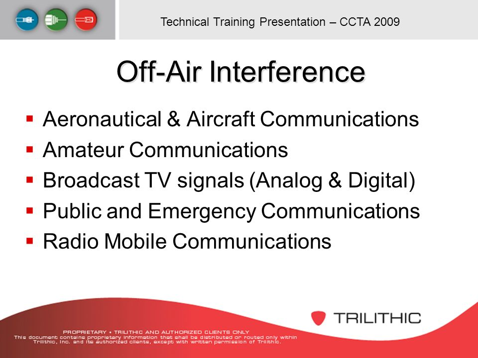 Off-Air Interference Aeronautical & Aircraft Communications
