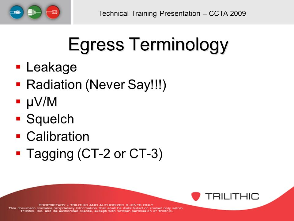 Egress Terminology Leakage Radiation (Never Say!!!) µV/M Squelch