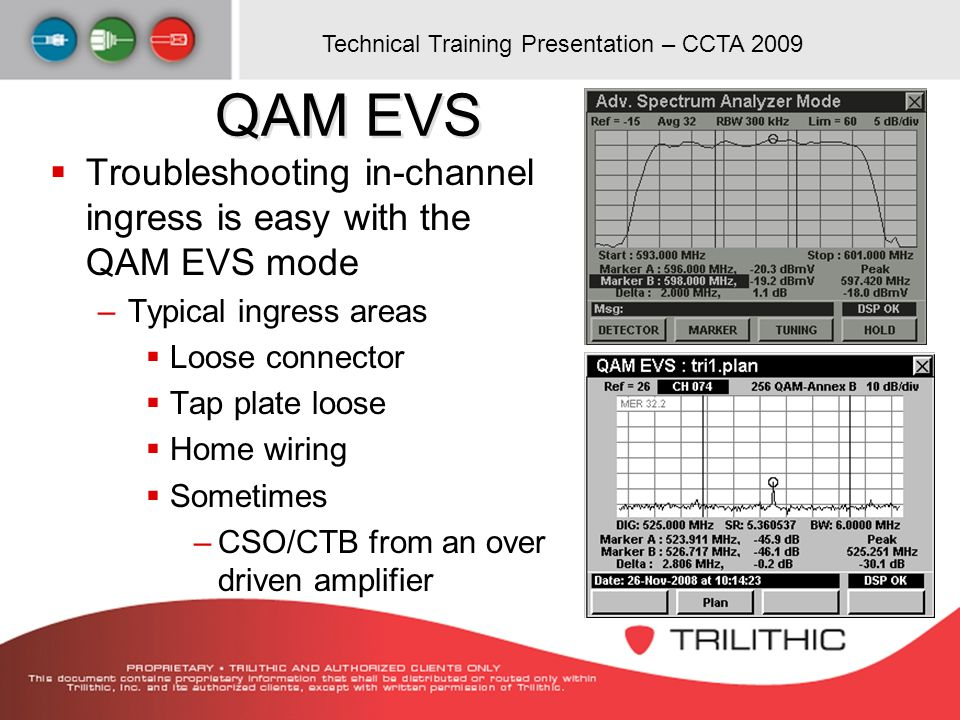 QAM EVS Troubleshooting in-channel ingress is easy with the QAM EVS mode. Typical ingress areas. Loose connector.