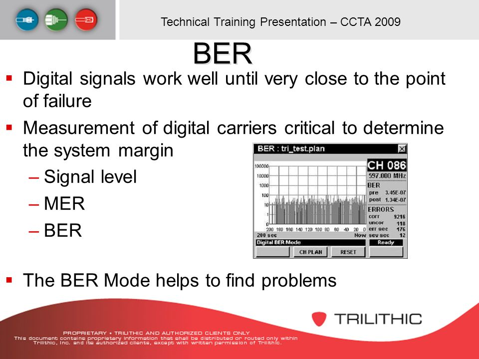 BER Digital signals work well until very close to the point of failure