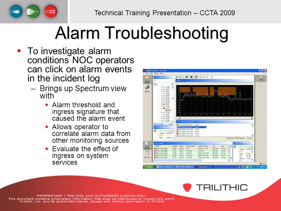 Alarm Troubleshooting