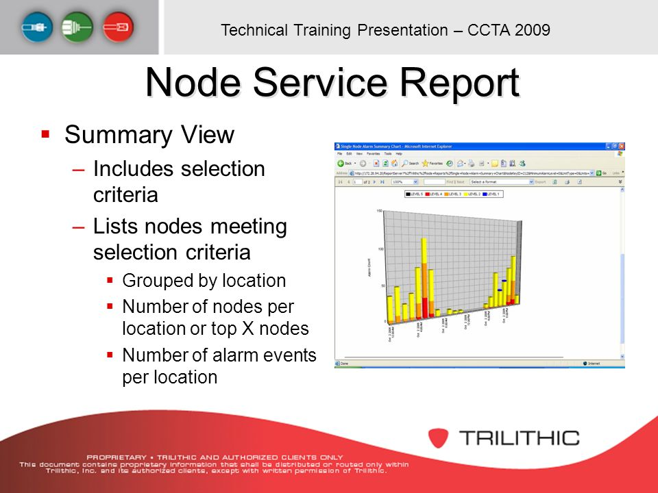 Node Service Report Summary View Includes selection criteria