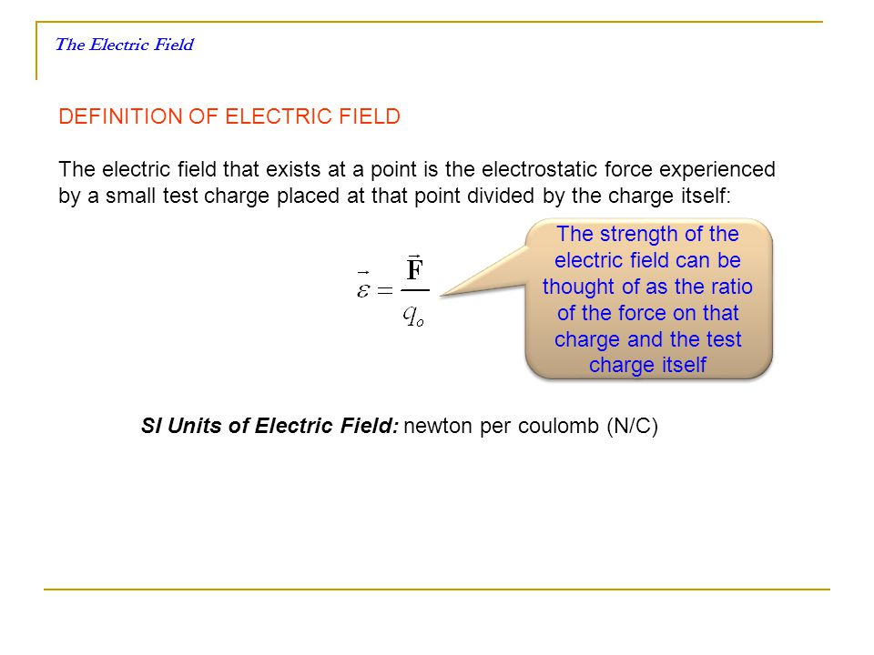 DEFINITION OF ELECTRIC FIELD