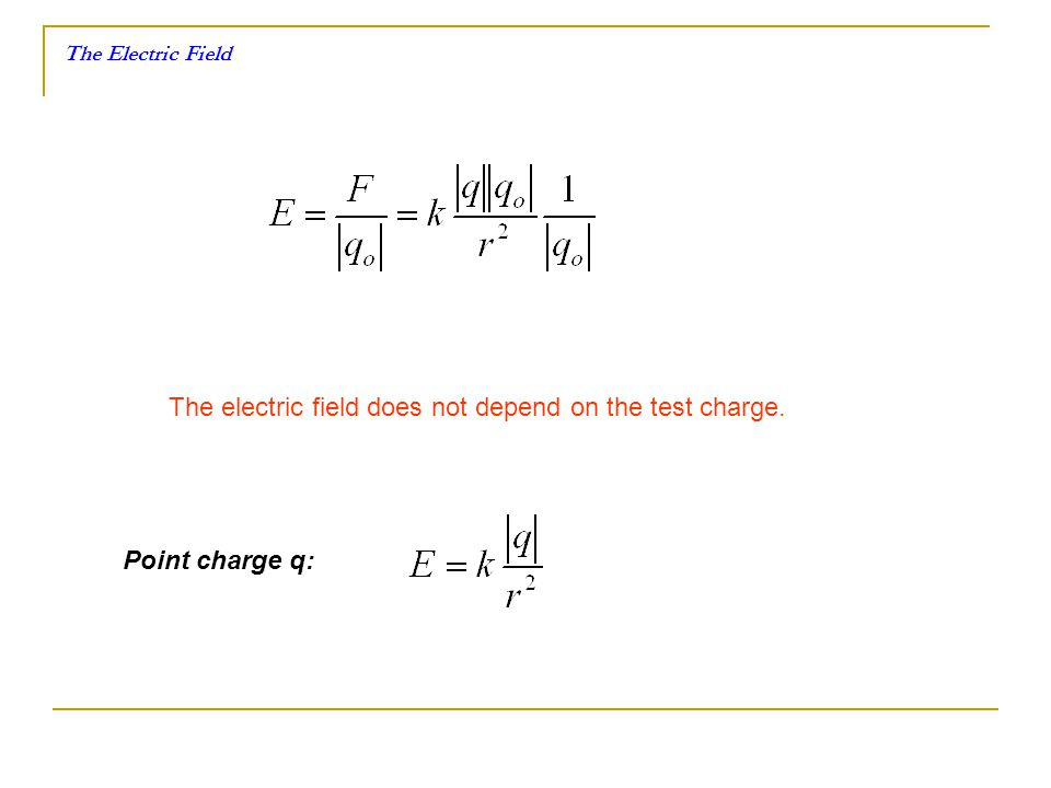 The electric field does not depend on the test charge.