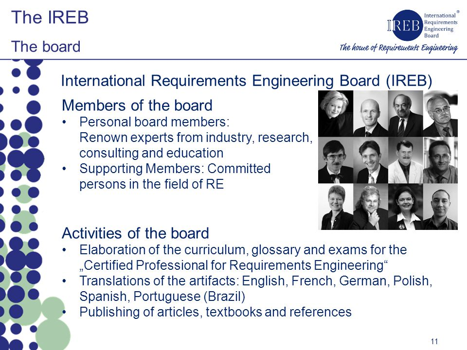 The IREB The board International Requirements Engineering Board (IREB)