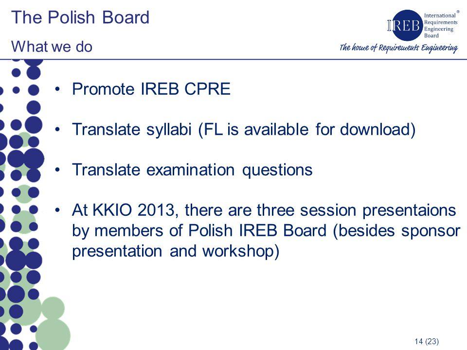 The Polish Board Promote IREB CPRE