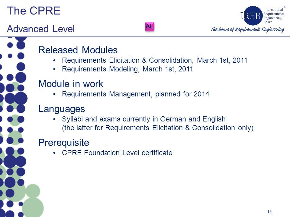 The CPRE Advanced Level Released Modules Module in work Languages