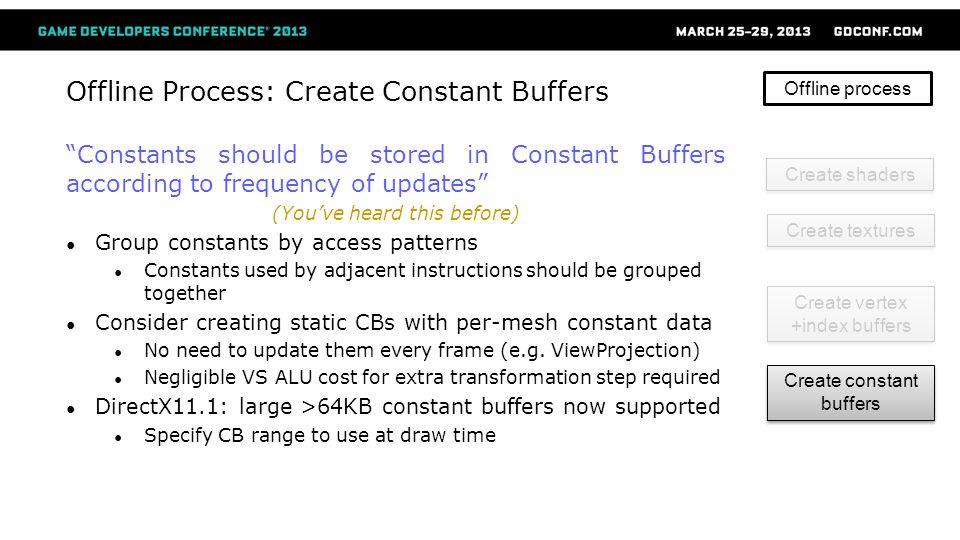 Offline Process: Create Constant Buffers