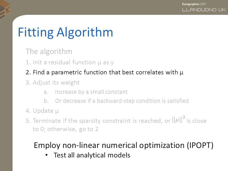 Fitting Algorithm Employ non-linear numerical optimization (IPOPT)