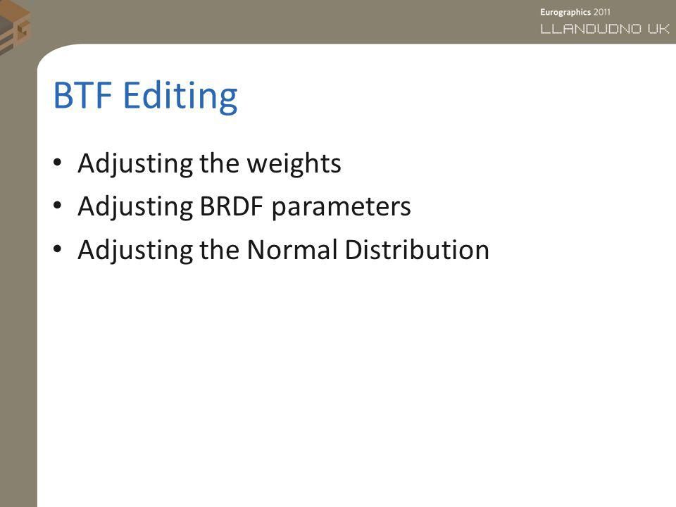 BTF Editing Adjusting the weights Adjusting BRDF parameters