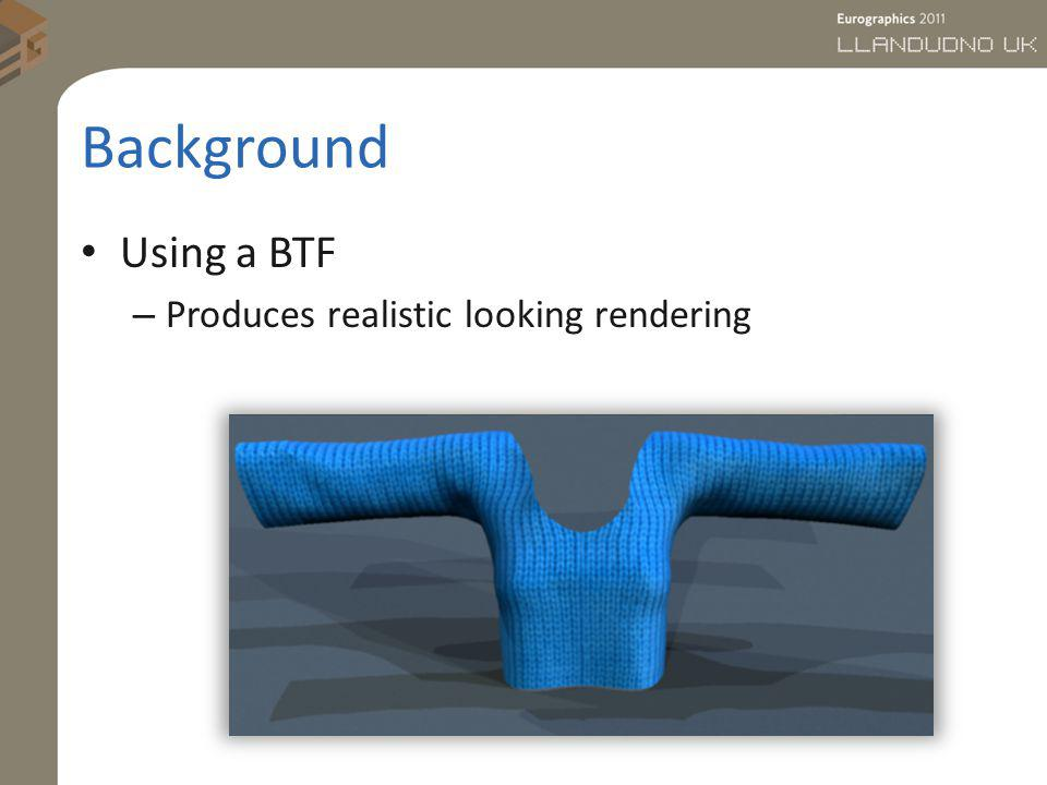 Background Using a BTF Produces realistic looking rendering
