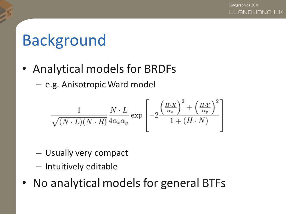 Background Analytical models for BRDFs