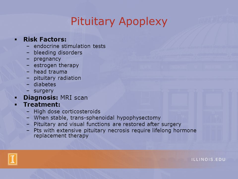Pituitary Apoplexy Risk Factors: Diagnosis: MRI scan Treatment: