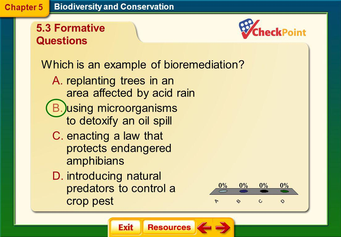 Which is an example of bioremediation