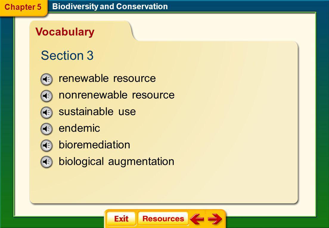 Section 3 Vocabulary renewable resource nonrenewable resource