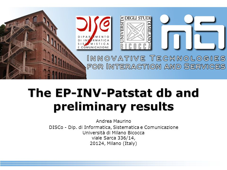 The EP-INV-Patstat db and preliminary results