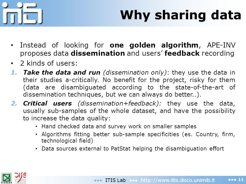Why sharing data Instead of looking for one golden algorithm, APE-INV proposes data dissemination and users' feedback recording.