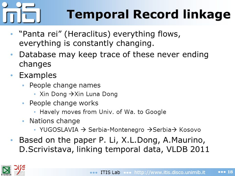 Temporal Record linkage