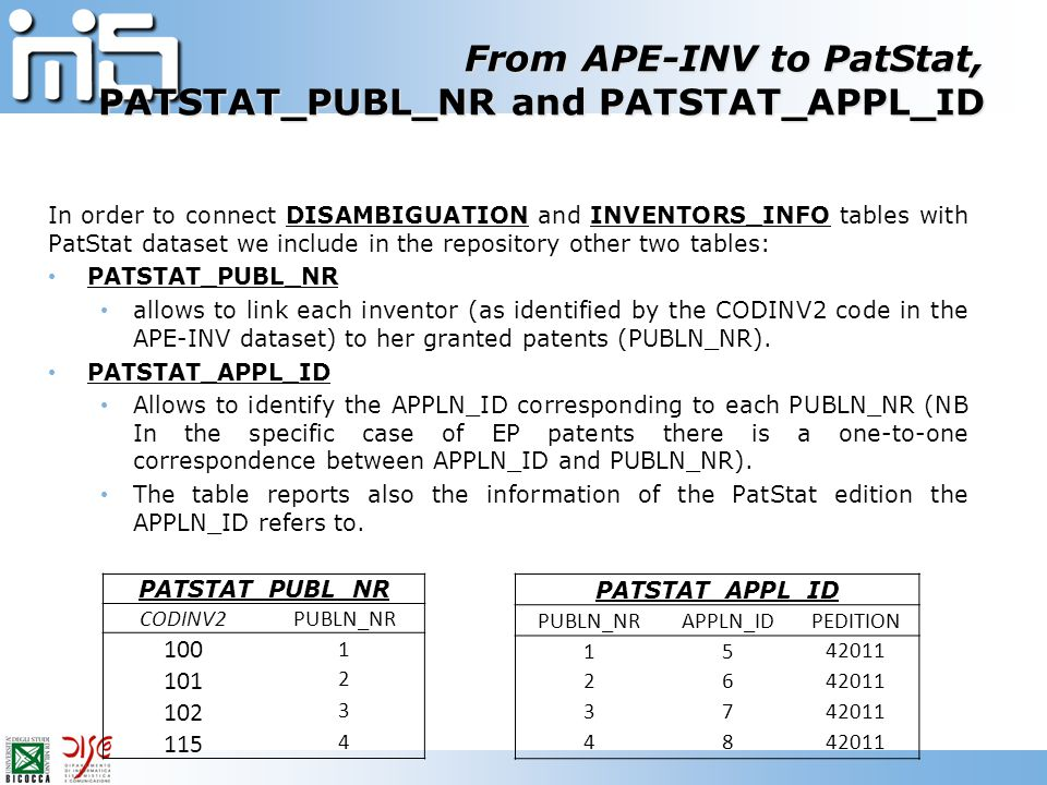 From APE-INV to PatStat, PATSTAT_PUBL_NR and PATSTAT_APPL_ID