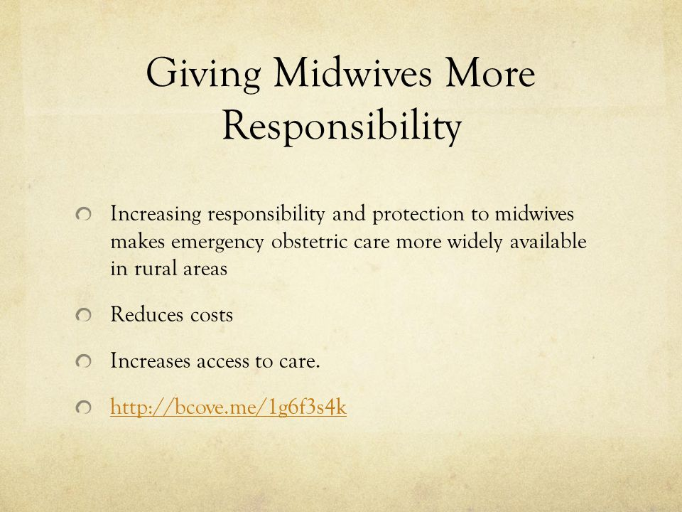 Giving Midwives More Responsibility