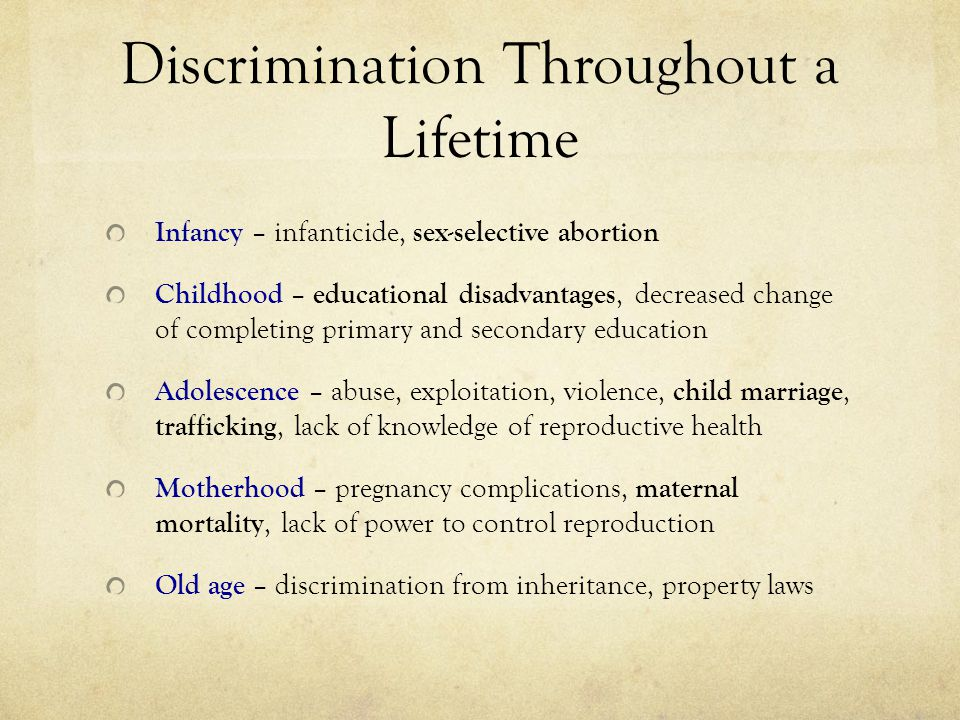 Discrimination Throughout a Lifetime