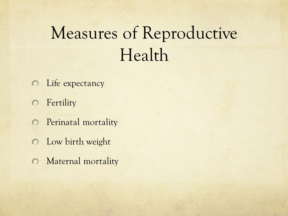 Measures of Reproductive Health
