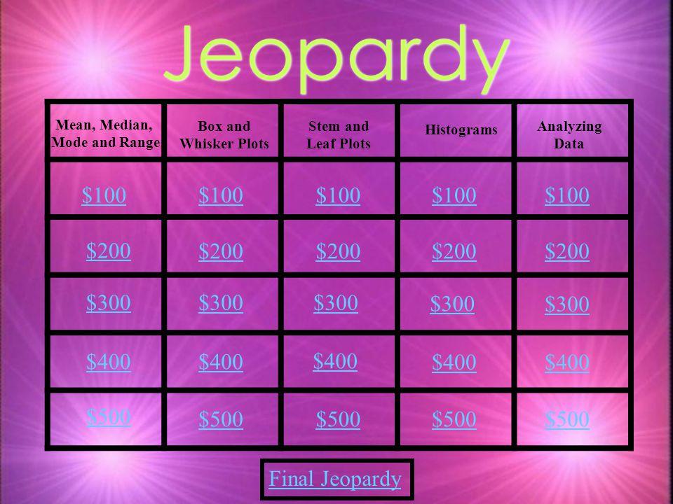 Jeopardy $100 $100 $100 $100 $100 $200 $200 $200 $200 $200 $300 $300