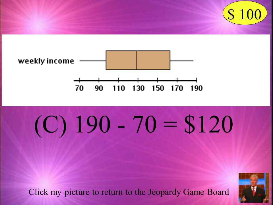 $ 100 (C) 190 - 70 = $120 Click my picture to return to the Jeopardy Game Board