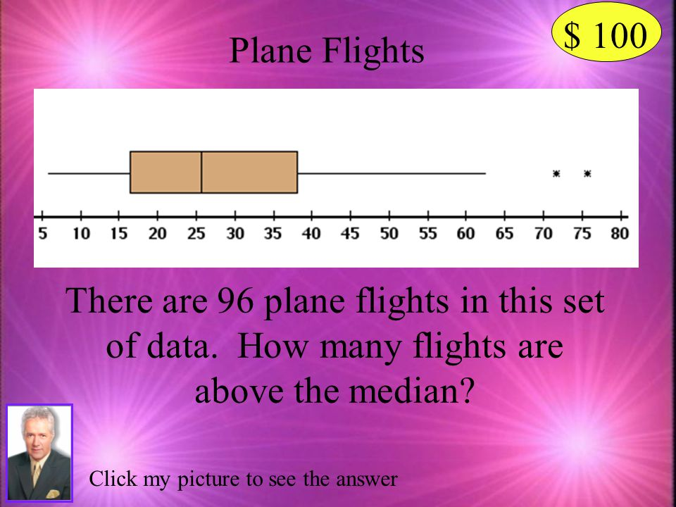 $ 100 Plane Flights. There are 96 plane flights in this set of data. How many flights are above the median