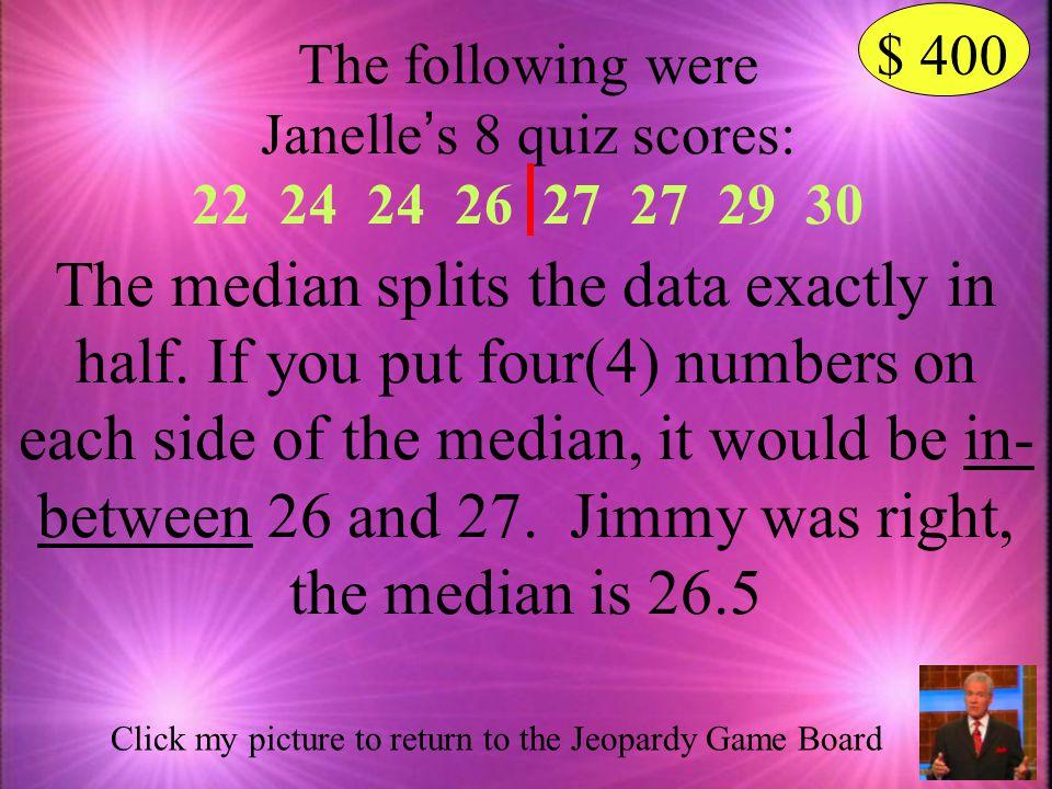 Janelle's 8 quiz scores: