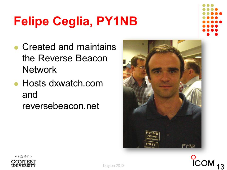Felipe Ceglia, PY1NB Created and maintains the Reverse Beacon Network