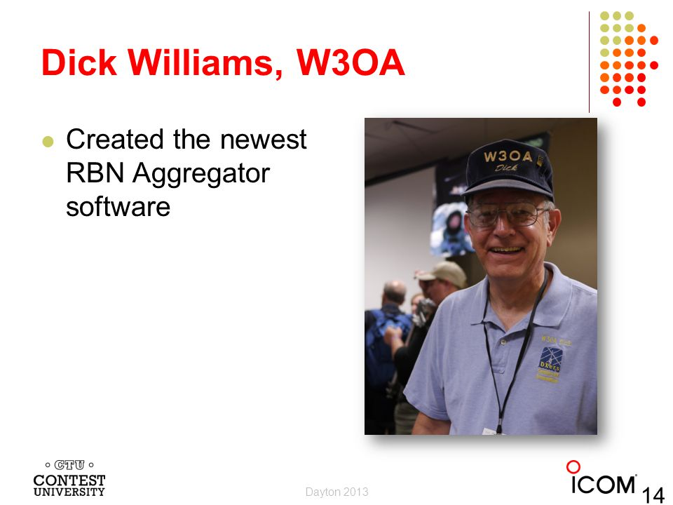 Dick Williams, W3OA Created the newest RBN Aggregator software 14