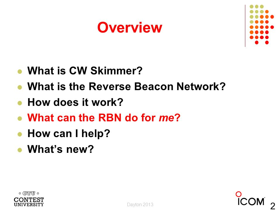 Overview What is CW Skimmer What is the Reverse Beacon Network