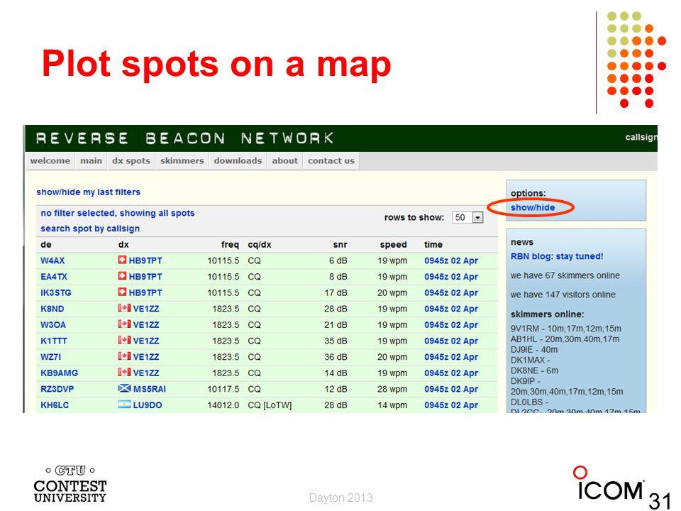 Plot spots on a map Dayton 2013 31