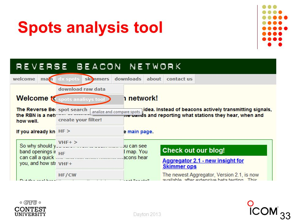 Spots analysis tool Dayton 2013 33