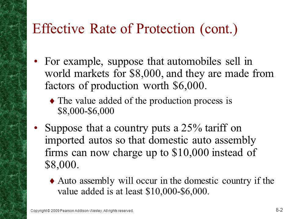 Effective Rate of Protection (cont.)