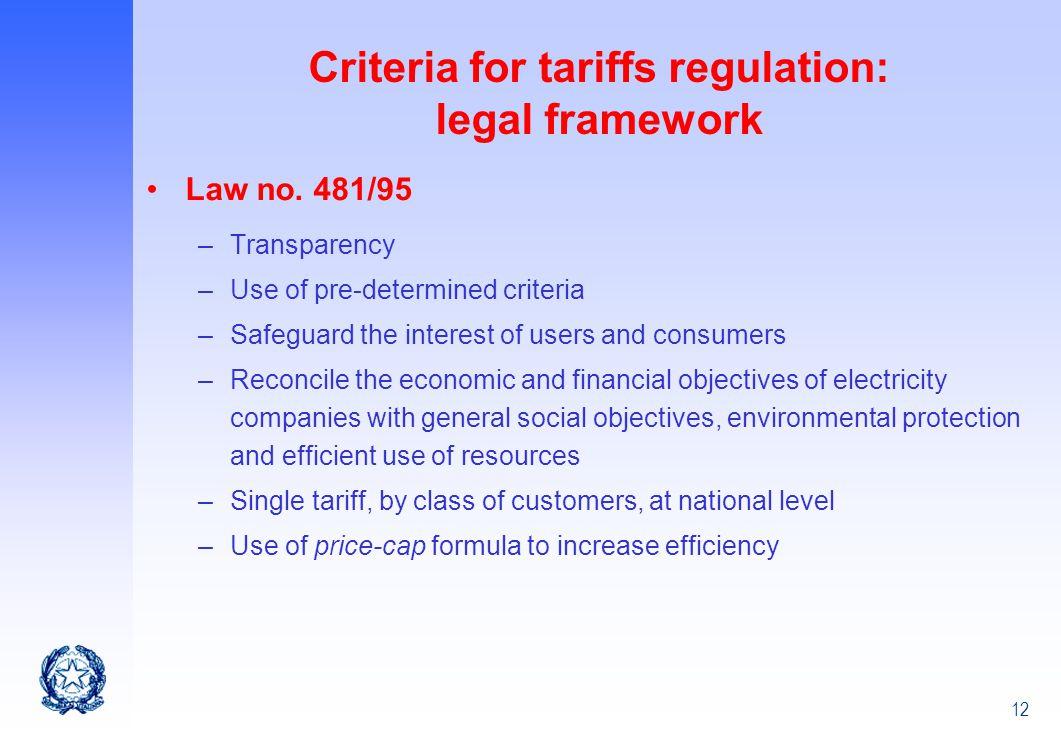 Criteria for tariffs regulation: legal framework