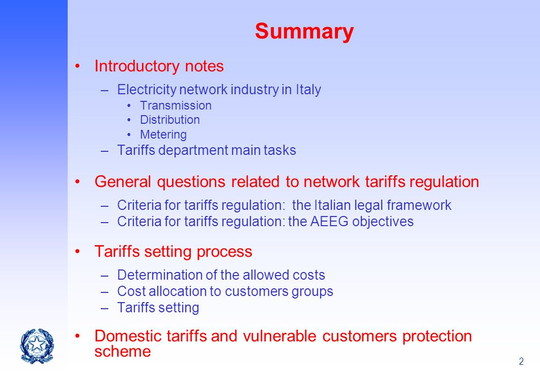 Summary Introductory notes
