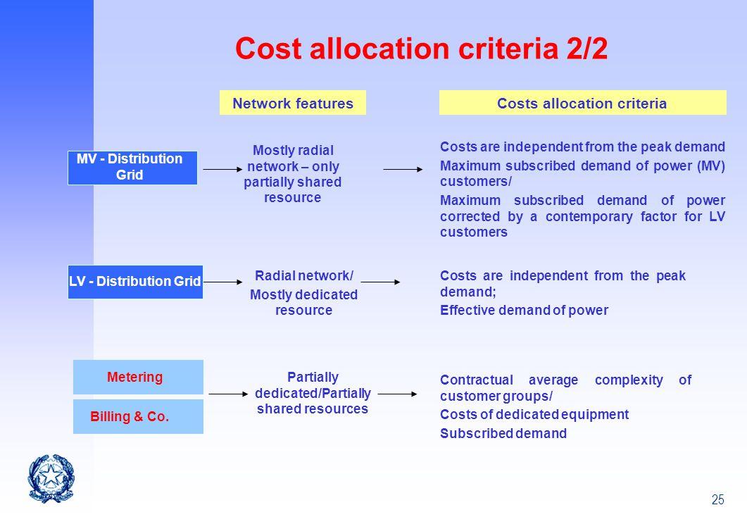Cost allocation criteria 2/2
