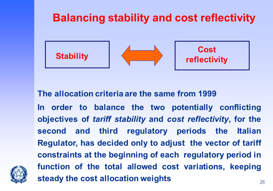 Balancing stability and cost reflectivity
