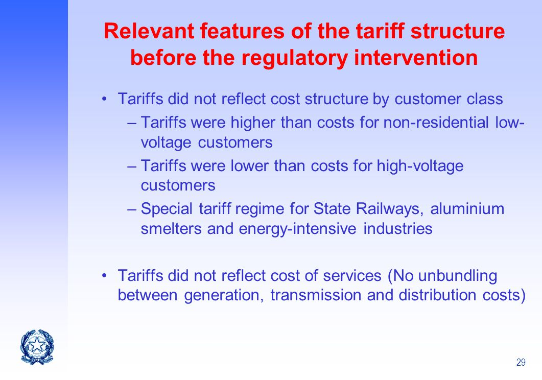 Relevant features of the tariff structure before the regulatory intervention