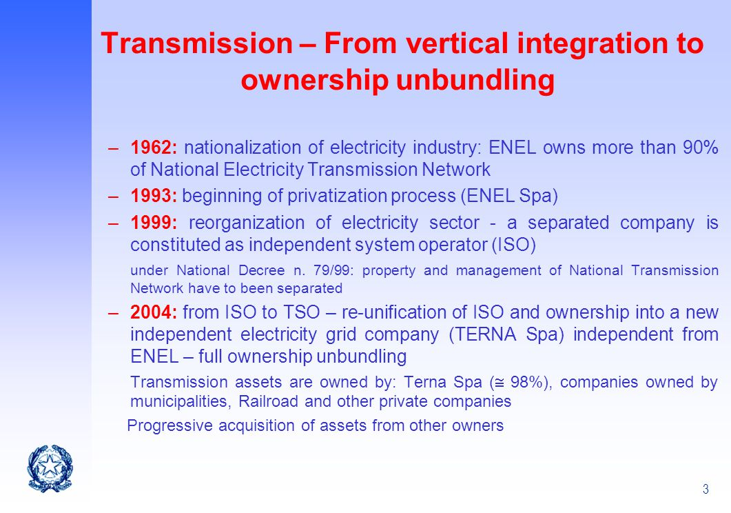 Transmission – From vertical integration to ownership unbundling