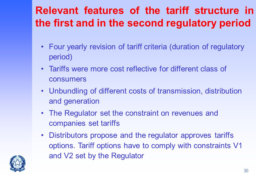 Relevant features of the tariff structure in the first and in the second regulatory period