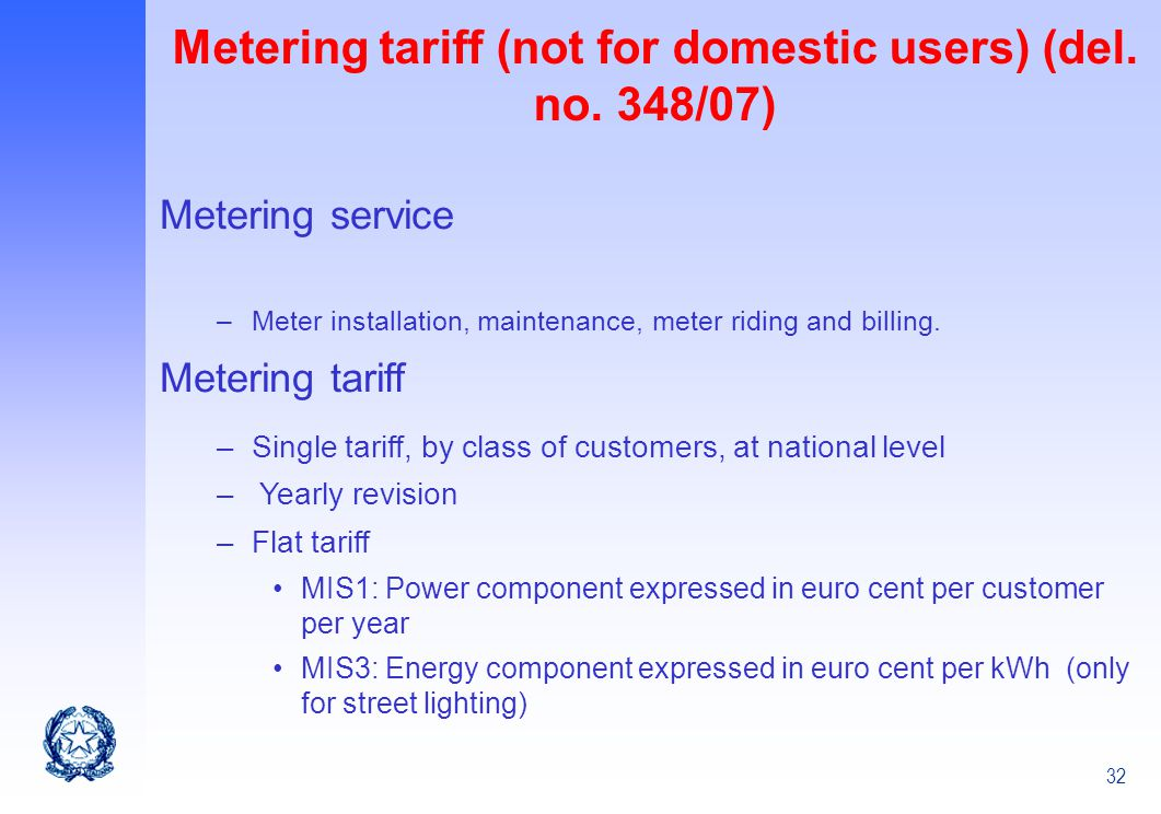 Metering tariff (not for domestic users) (del. no. 348/07)