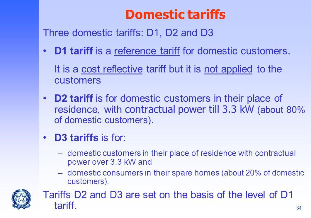Domestic tariffs Three domestic tariffs: D1, D2 and D3