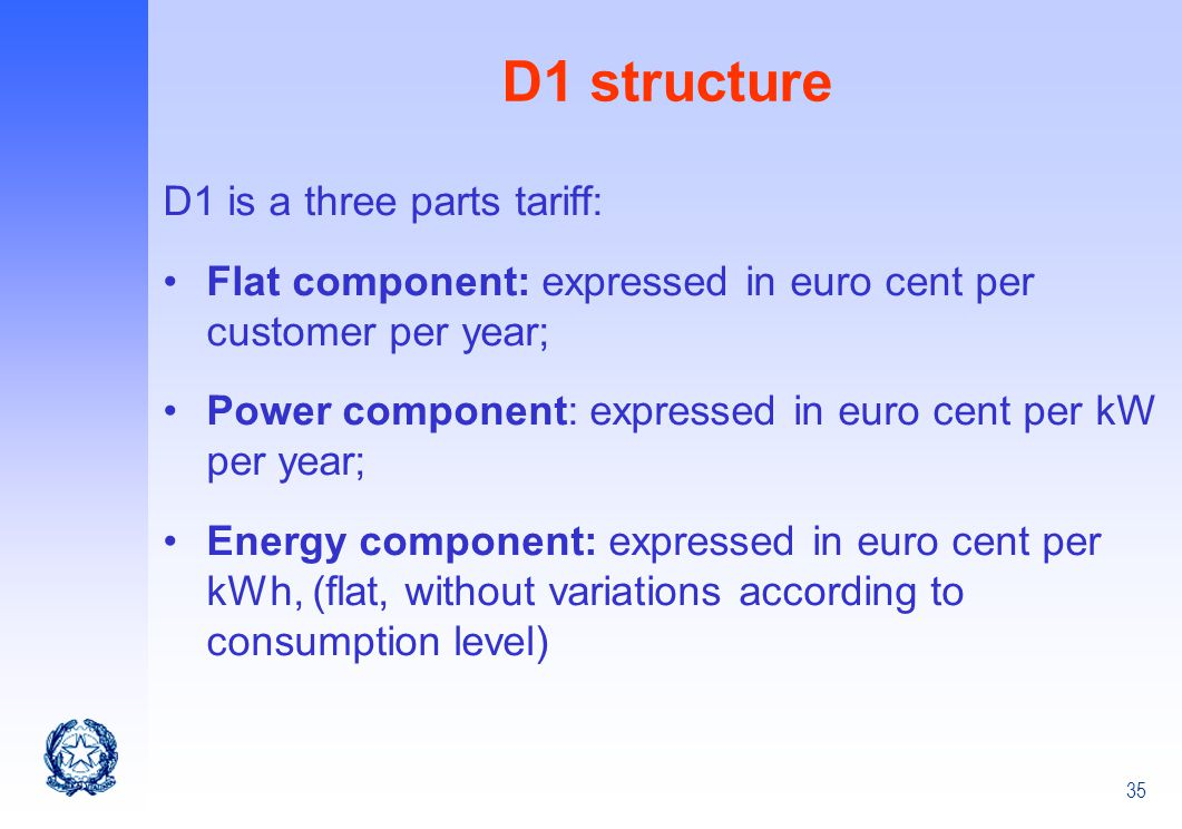 D1 structure D1 is a three parts tariff: